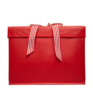 IRREGULAR - Large Red Heavy-Duty Extra Strong Collapsible Gift Box with ribbon attached, great zero waste solution for sustainable and eco-friendly gift boxes - EverWrap