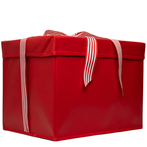 Large Red Heavy-Duty Extra Strong Collapsible Gift Box with ribbon attached, great zero waste solution for sustainable and eco-friendly gift boxes - EverWrap