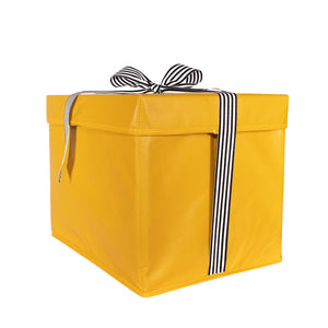 Large Yellow Heavy-Duty Extra Strong Collapsible Gift Box with black and white grosgrain ribbon attached, great zero waste solution for sustainable and eco-friendly gift boxes - EverWrap