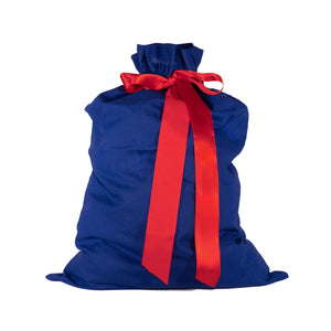 "Blue Cotton Sleigh Bag 27"" tall with satin closure, reusable wrapping for larger gifts - EverWrap"