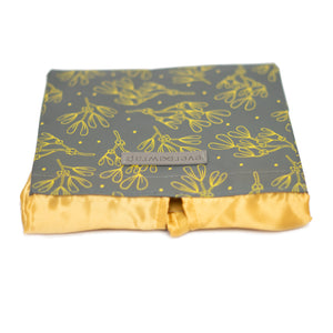 Grey and Gold Floral Print Small Reusable Gift Bag with Gold Satin Bow Collapsible Bag Heavy Duty for Zero Waste Reusability For Every Holiday - EverWrap