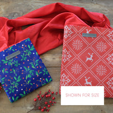 Load image into Gallery viewer, IRREGULAR - Holiday Red with Wintry Knitted Sweater Design fold, store, and reseal with our reusable gift bag, satin closure makes for an eco-friendly gift bag - EverWrap