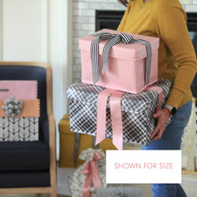 Load image into Gallery viewer, Small shoebox sized pink collapsible gift box with black and white grosgrain ribbon attached, great zero waste solution for sustainable and eco-friendly gift boxes - EverWrap