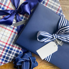 Load image into Gallery viewer, IRREGULAR - Small Shoebox-Sized Blue Collapsible Gift Box with ribbon attached, great zero waste solution for sustainable and eco-friendly gift boxes