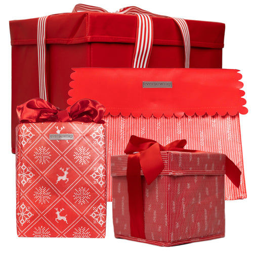4-Piece Resuable Gift Box and Gift Bag Set in Red: 2 Extra Strong Collapsible Gift Boxes with Ribbon Closure Attached, 1 Gift Bag with Magnet Closure and 1 Gift Bag with Satin Closure - EverWrap