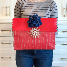 Load image into Gallery viewer, Medium Red Reusable gift bag with magnet closure and scalloped, heavy duty for maximum reusability