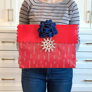 IRREGULAR - Medium Red Reusable gift bag with magnet closure and scalloped, heavy duty for maximum reusability