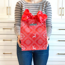 Load image into Gallery viewer, Holiday Red with Wintry Knitted Sweater Design fold, store, and reseal with our reusable gift bag, satin closure makes for an eco-friendly gift bag