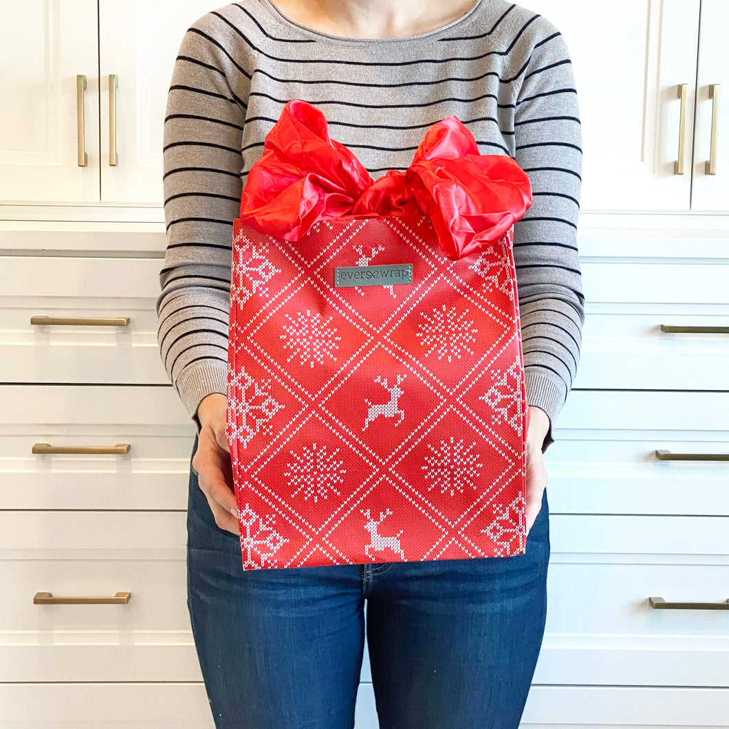 Holiday Red with Wintry Knitted Sweater Design fold, store, and reseal with our reusable gift bag, satin closure makes for an eco-friendly gift bag