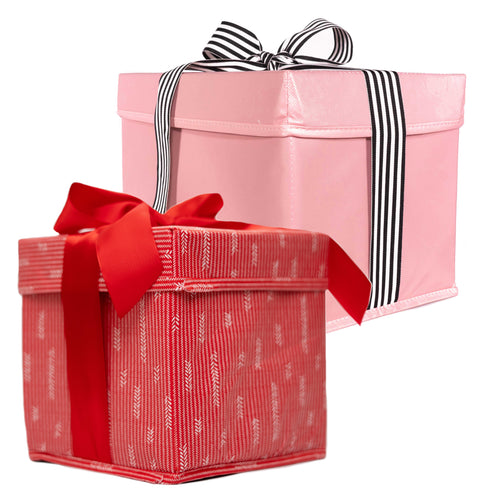 Set of Two Red and Pink Collapsible Gift Boxes Extra Strong Heavy-Duty and Built-In Ribbon for Maximum Reusability - EverWrap