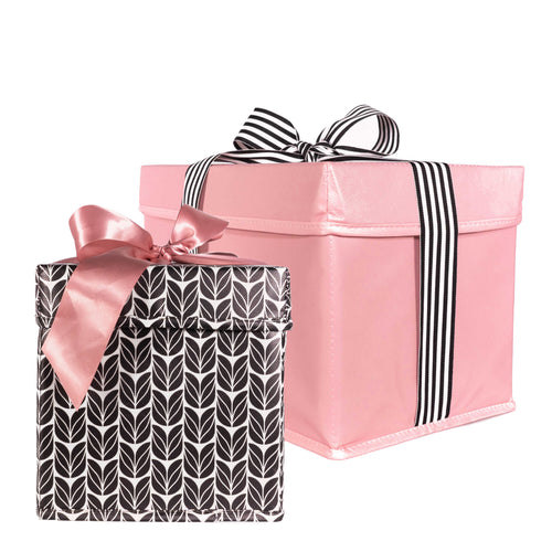 2 Piece Gift Boxes Heavy Duty with Ribbon Closure Built-In to the Collapsible Reusable Gift Box - EverWrap