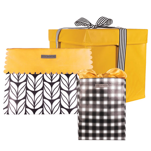 Black and White Gift Box and Bags, Buffalo check and Tulips with Big Pops of Yellow, collapsible and reusable zero-waste gift wrapping - EverWrap