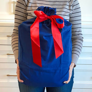 "Blue Cotton Sleigh Bag 27"" tall with satin closure, reusable wrapping for larger gifts"