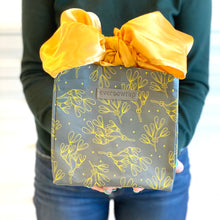 Load image into Gallery viewer, Grey and Gold Floral Print Small Reusable Gift Bag with Gold Satin Bow Collapsible Bag Heavy Duty for Zero Waste Reusability For Every Holiday