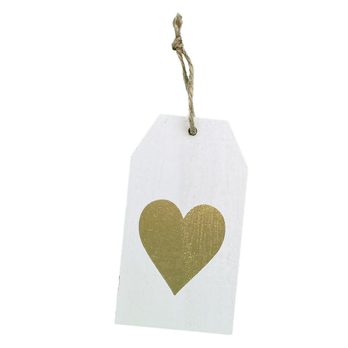 Charm: Wooden tag with gold heart - EverWrap