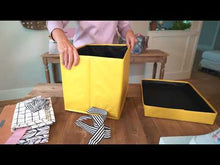 Load and play video in Gallery viewer, Large Yellow Heavy-Duty Extra Strong Collapsible Gift Box with black and white grosgrain ribbon attached, great zero waste solution for sustainable and eco-friendly gift boxes