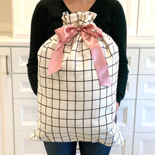 "Load image into Gallery viewer, White with Black Grid Pattern Cotton Sleigh Bag 27"" tall with satin closure, reusable wrapping for larger gifts"