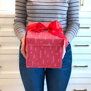 "Small Red 8"" Collapsible Gift Box with satin ribbon attached, great zero waste solution for sustainable and eco-friendly gift boxes"