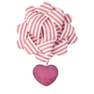 4-Piece Sweetheart Gift Bags Bundle with Bows includes 1 Large Gift Bag and 1 Medium Gift bag with Magnet Closure, and 2 Bows with Felted Wool Heart Charms Attached - EverWrap