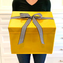 Load image into Gallery viewer, Large Yellow Heavy-Duty Extra Strong Collapsible Gift Box with black and white grosgrain ribbon attached, great zero waste solution for sustainable and eco-friendly gift boxes