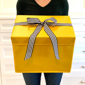 Large Yellow Heavy-Duty Extra Strong Collapsible Gift Box with black and white grosgrain ribbon attached, great zero waste solution for sustainable and eco-friendly gift boxes