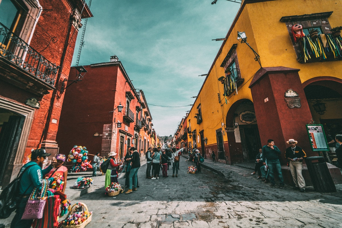 coloured buildings on the streets of mexico