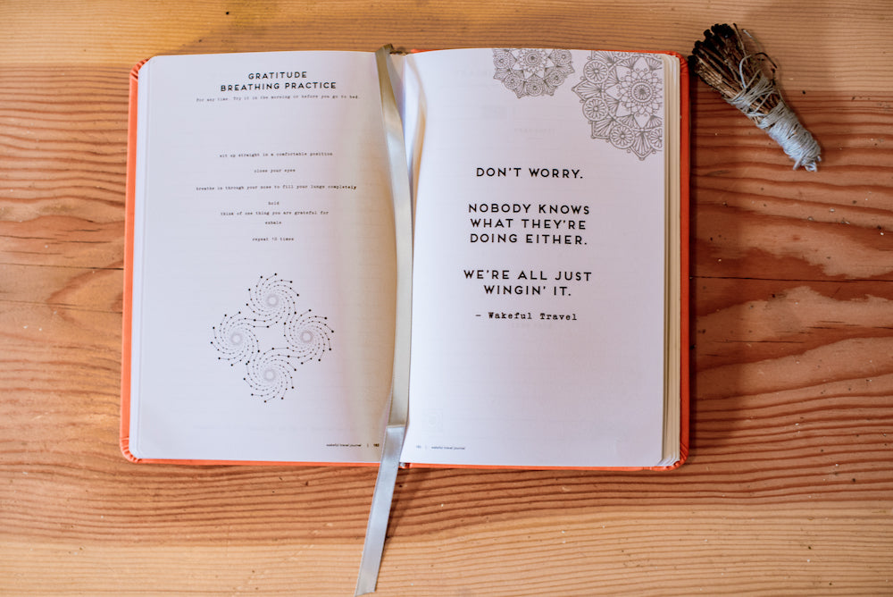 two pages of the mindful travel journal, one with a quote and one with a gratitude practice
