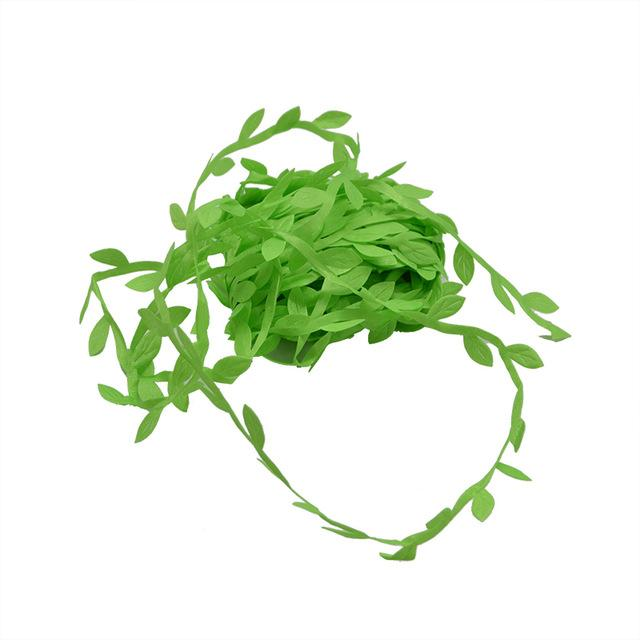 10 Meter Silk Leaf-Shaped Handmake Artificial green Leaves For Wedding Decoration DIY Wreath Gift Scrapbooking Craft Fake Flower - GoJohnny437