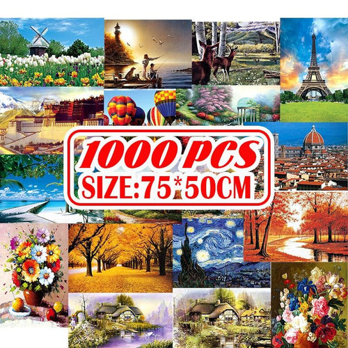 1000Pcs Jigsaw Puzzle Wooden Paper Puzzles Educational Toys for Children Bedroom Decoration Stickers - GoJohnny437