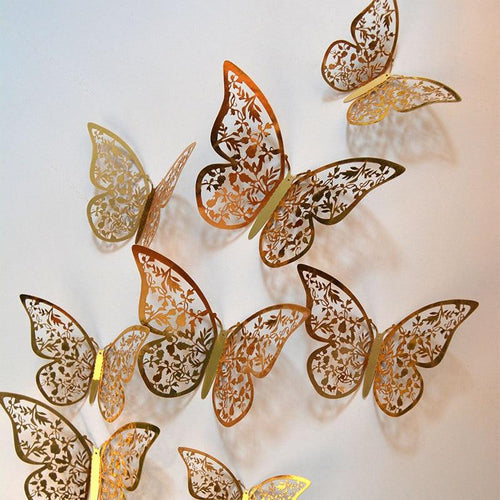 12pcs/lot 3d Effect Crystal Butterflies Wall Sticker Beautiful Butterfly for Kids Room Wall Decals Home Decoration On the Wall - GoJohnny437
