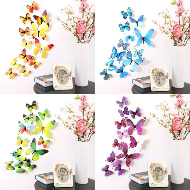 12pcs/Set 3D Wall Stickers Butterflies Wall Decor for Kids Room Wall art Decals DIY Multicolor Home Decoration On the Wall - GoJohnny437