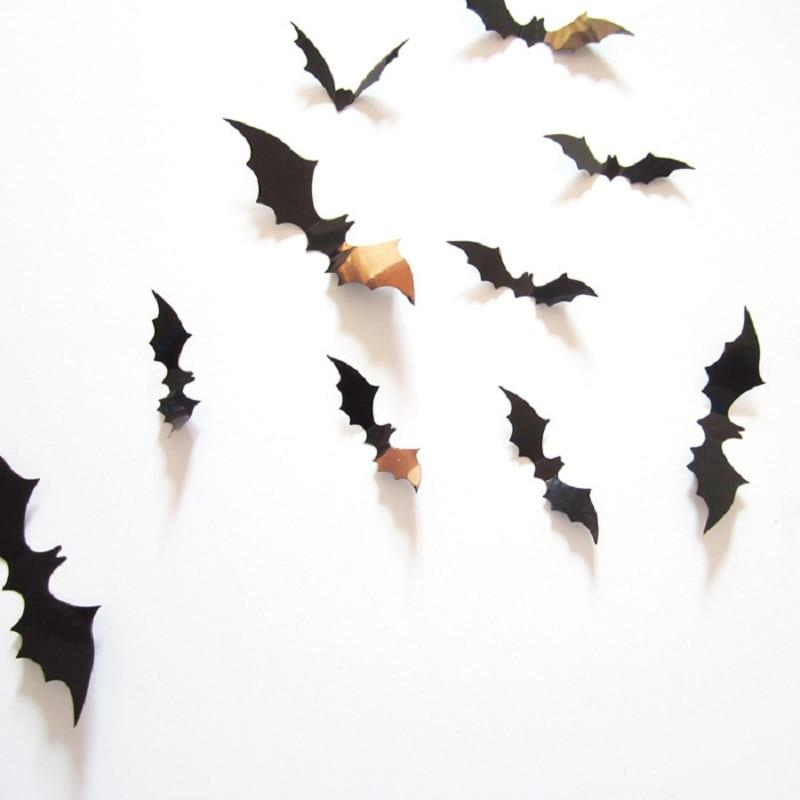 12pcs/set Halloween Decoration 3D Bat Decoration Wall Sticker DIY Room Wall Decals Home Party Decor for Halloween Wall Stickers - GoJohnny437