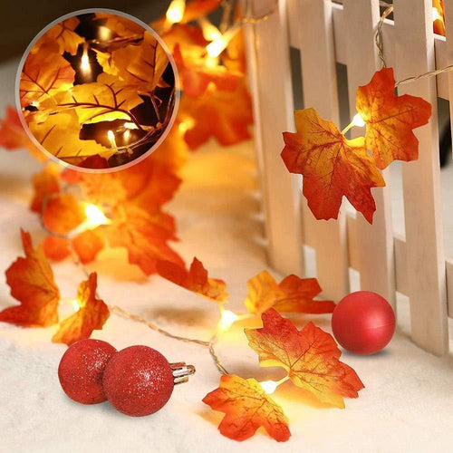 1.5/2/3M DIY LED Lights Autumn Artificial Maple Leaf Shaped Fall LED String Lights Party Birthday Christmas Decorations for Home - GoJohnny437