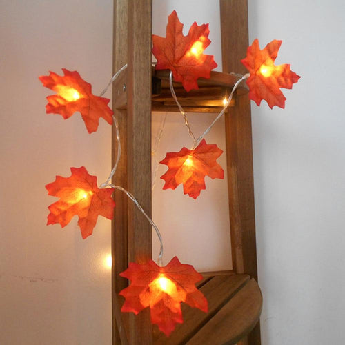 1.5M 3M 20 Lights Maple Leaves Garland Led Fairy Lights for Christmas Decoration Autumn String Light Festive DIY Halloween Decor - GoJohnny437