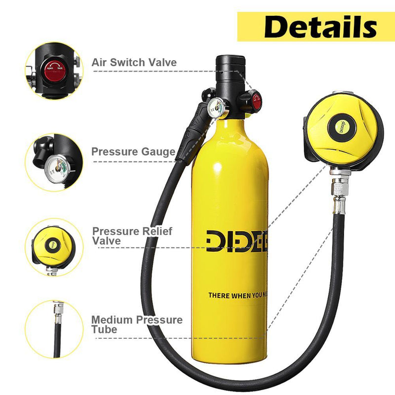 1L Mini Scuba Diving Cylinder Oxygen Tank Set Dive Respirator Air Tank Hand Pump for Snorkeling Breath Diving Equipment - GoJohnny437