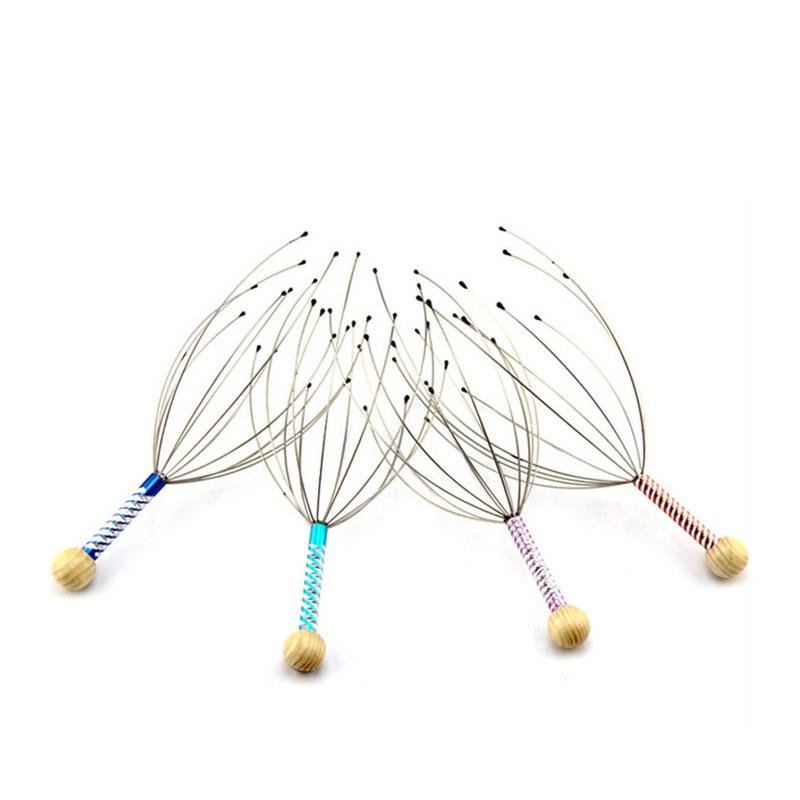 1pcs 12 Finger Head Massager Anti Pain Relief Octopus Scalp Neck MassageTool Relax Body Steel Ball Massage Relaxation Treatments - GoJohnny437