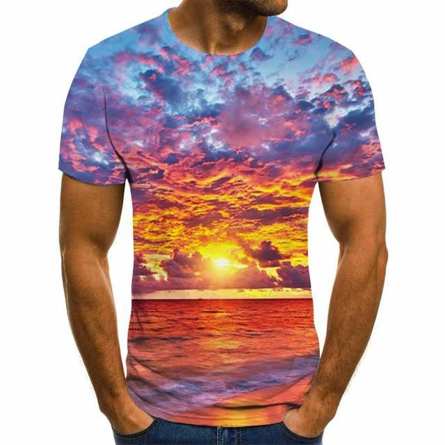 2020 New Men 3D T-shirt Casual Short Sleeve O-Neck Fashion Nature Printed t shirt Men Tees - GoJohnny437
