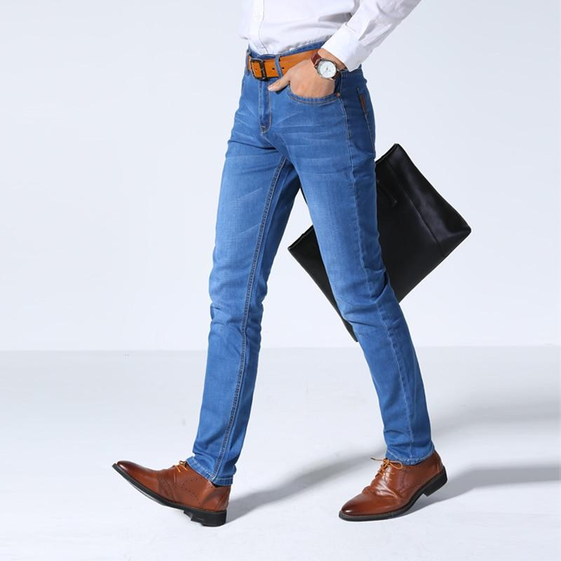 2020 Spring and Summer New Men Thin Jeans Business Casual Stretch Slim Denim Pants Light Blue Black Trousers Male Brand - GoJohnny437
