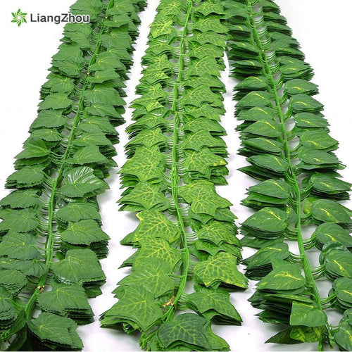 230cm green silk artificial Hanging ivy leaf garland plants vine leaves 1Pcs diy For Home Bathroom Decoration Garden Party Decor - GoJohnny437