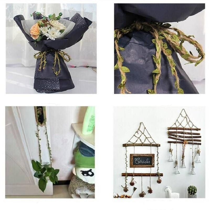 2M 5M Simulation Green Leaves Weaving Hemp Rope DIY Wedding Birthday Wedding Decoration Rattan Gift Bouquet Packaging Rope 5mm - GoJohnny437