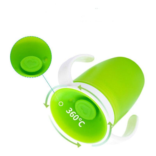 360 Degrees Can Be Rotated Baby Learning Drinking Cup with Double Handle Flip Lid Leakproof Infants Water Cups Bottle BPA Free - GoJohnny437