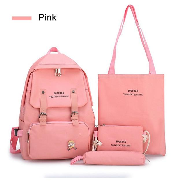 5 Piece Set High School backpack Bags for Teenage Girls 2020 Canvas Travel Backpack Women Bookbags Teen Student Schoolbag - GoJohnny437