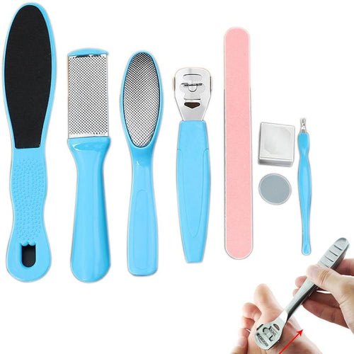 8Pcs/Set Manicure Foot Care File Set Dead Hard Skin Callus Remover Scraper Pedicure Rasp Tools Pedicure Feet Care Tool Kit - GoJohnny437