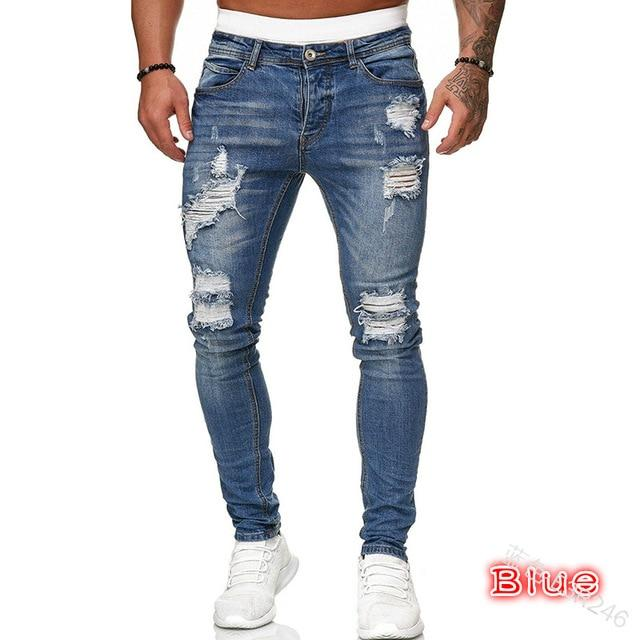 Adisputent Men's Sweatpants Sexy Hole Jeans Pants Casual Summer Autumn Male Ripped Skinny Trousers Slim Biker Outwears Pants - GoJohnny437