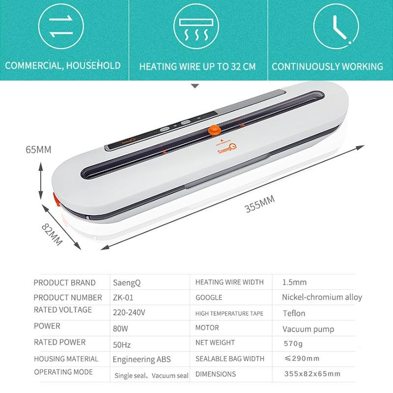 Best Vacuum Food Sealer 220V/110V Automatic Commercial Household Food Vacuum Sealer Packaging Machine Include 10Pcs Bags - GoJohnny437