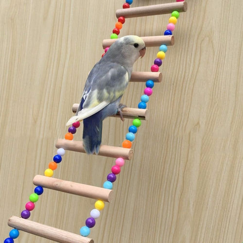 Birds Pets Parrots Ladders Climbing Toy Hanging Colorful Balls With Natural Wood - GoJohnny437