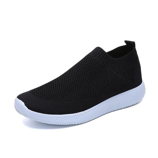 Breathable Mesh Platform Sneakers Women Slip on Soft Ladies Casual Running Shoes Woman Knit Sock Shoes Flats - GoJohnny437
