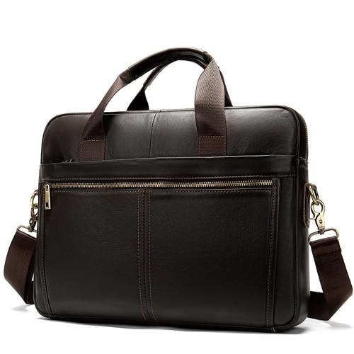 Briefcase messenger bag men's genuine leather laptop bag men's briefcases office business tote - GoJohnny437
