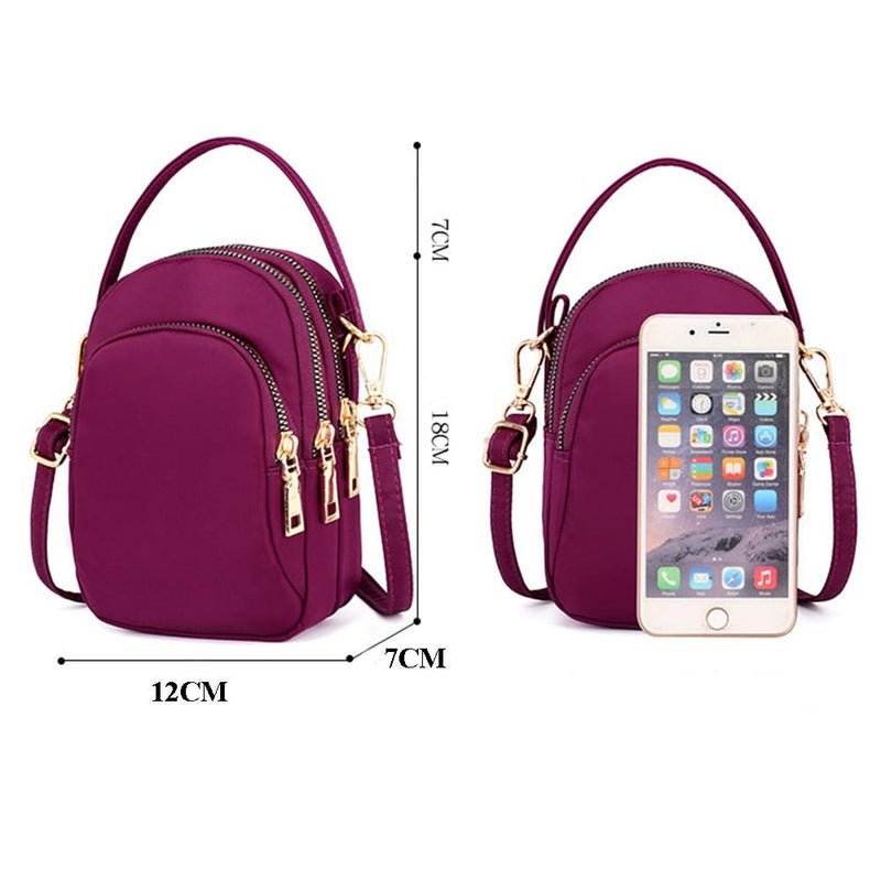 Buylor Girl Mini Crossbody Cell Phone Shoulder Bag Female Fashion Lightweight Nylon Messenger Bag Waterproof Wallet Ladies Purse - GoJohnny437