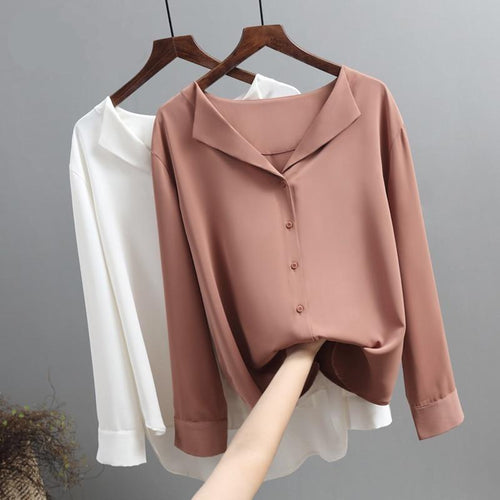 Casual Solid Female Shirts Outwear Tops 2020 Autumn New Women Chiffon Blouse Office Lady V-neck Button Loose Clothing - GoJohnny437